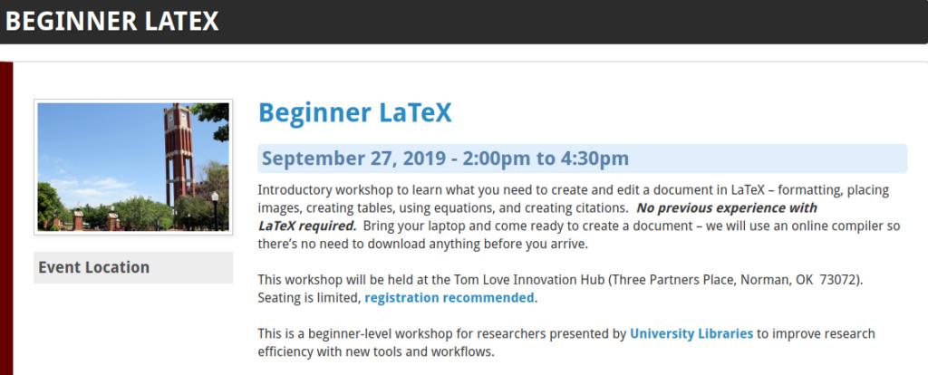 LaTeX Workshop Announcement